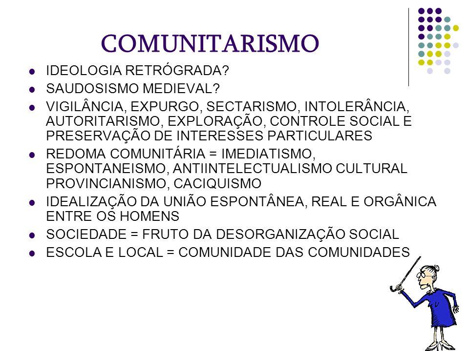 COMUNITARISMO IDEOLOGIA RETRÓGRADA? SAUDOSISMO MEDIEVAL? VIGILÂNCIA, EXPURGO, SECTARISMO, INTOLERÂNCIA, AUTORITARISMO, EXPLORAÇÃO, CONTROLE SOCIAL E P