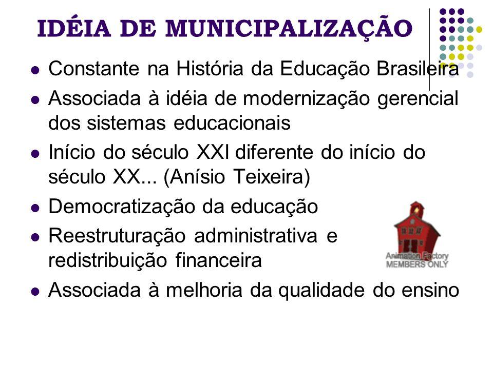IDÉIA DE MUNICIPALIZAÇÃO Constante na História da Educação Brasileira Associada à idéia de modernização gerencial dos sistemas educacionais Início do