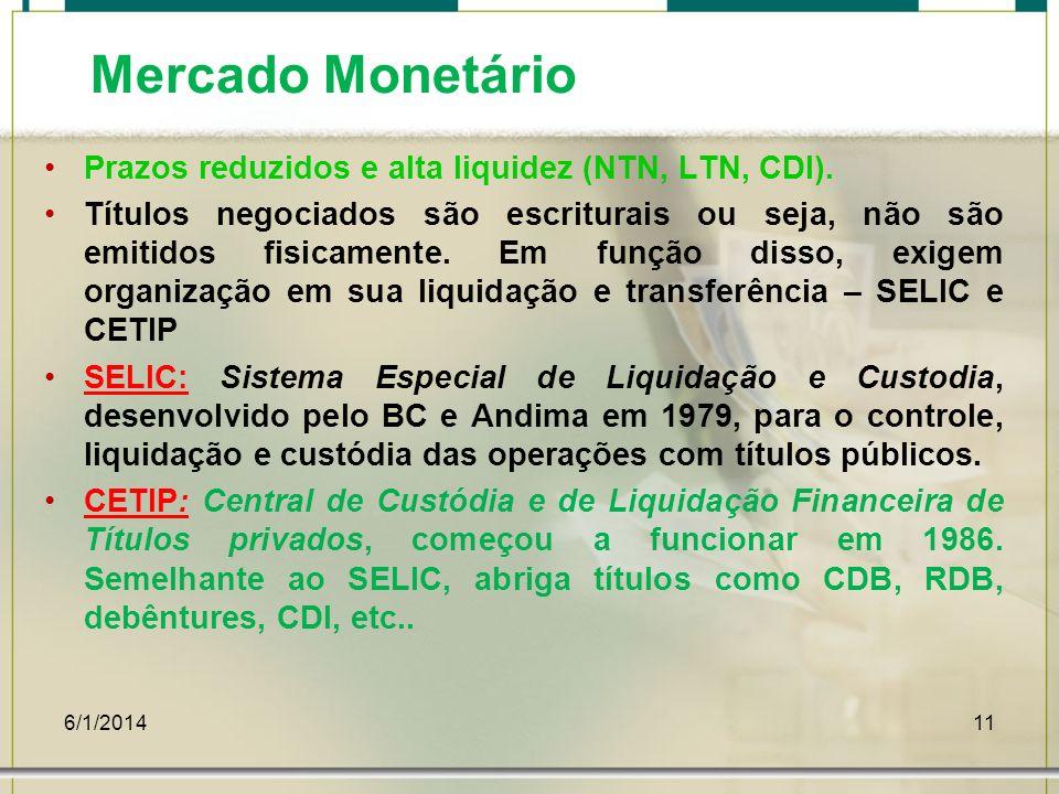 6/1/201411 Mercado Monetário Prazos reduzidos e alta liquidez (NTN, LTN, CDI). Títulos negociados são escriturais ou seja, não são emitidos fisicament