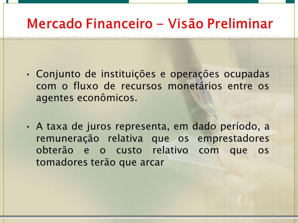 Mercado Financeiro - Visão Preliminar Conjunto de instituições e operações ocupadas com o fluxo de recursos monetários entre os agentes econômicos. A