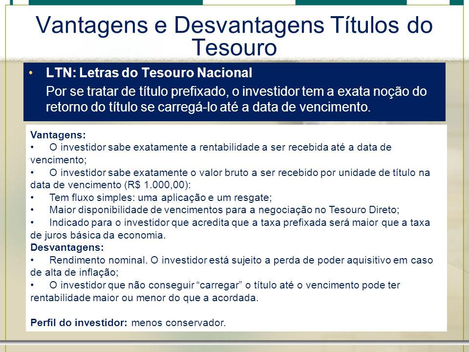 Vantagens e Desvantagens Títulos do Tesouro LTN: Letras do Tesouro Nacional Por se tratar de título prefixado, o investidor tem a exata noção do retor