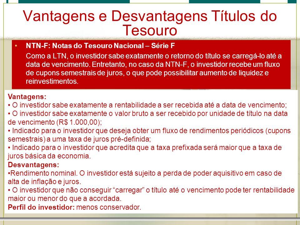 Vantagens e Desvantagens Títulos do Tesouro NTN-F: Notas do Tesouro Nacional – Série F Como a LTN, o investidor sabe exatamente o retorno do título se