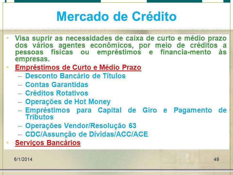 6/1/201449 Mercado de Crédito Visa suprir as necessidades de caixa de curto e médio prazo dos vários agentes econômicos, por meio de créditos a pessoa
