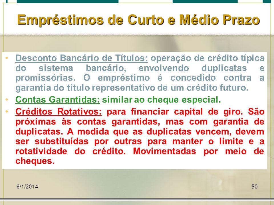6/1/201450 Empréstimos de Curto e Médio Prazo Desconto Bancário de Títulos: operação de crédito típica do sistema bancário, envolvendo duplicatas e pr