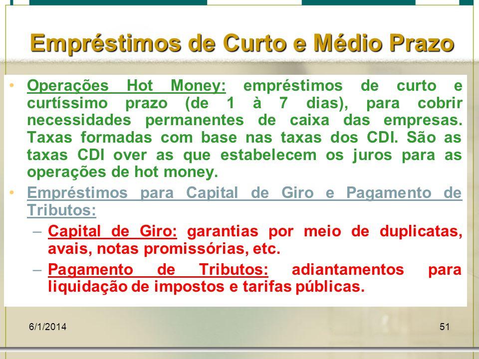 6/1/201451 Empréstimos de Curto e Médio Prazo Operações Hot Money: empréstimos de curto e curtíssimo prazo (de 1 à 7 dias), para cobrir necessidades p