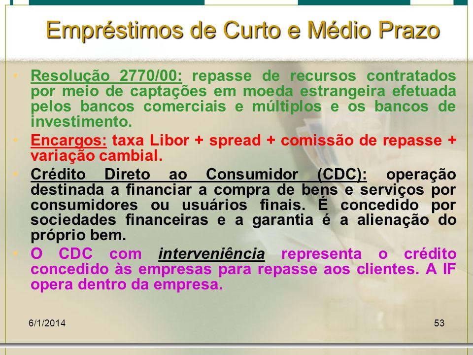 6/1/201453 Resolução 2770/00: repasse de recursos contratados por meio de captações em moeda estrangeira efetuada pelos bancos comerciais e múltiplos