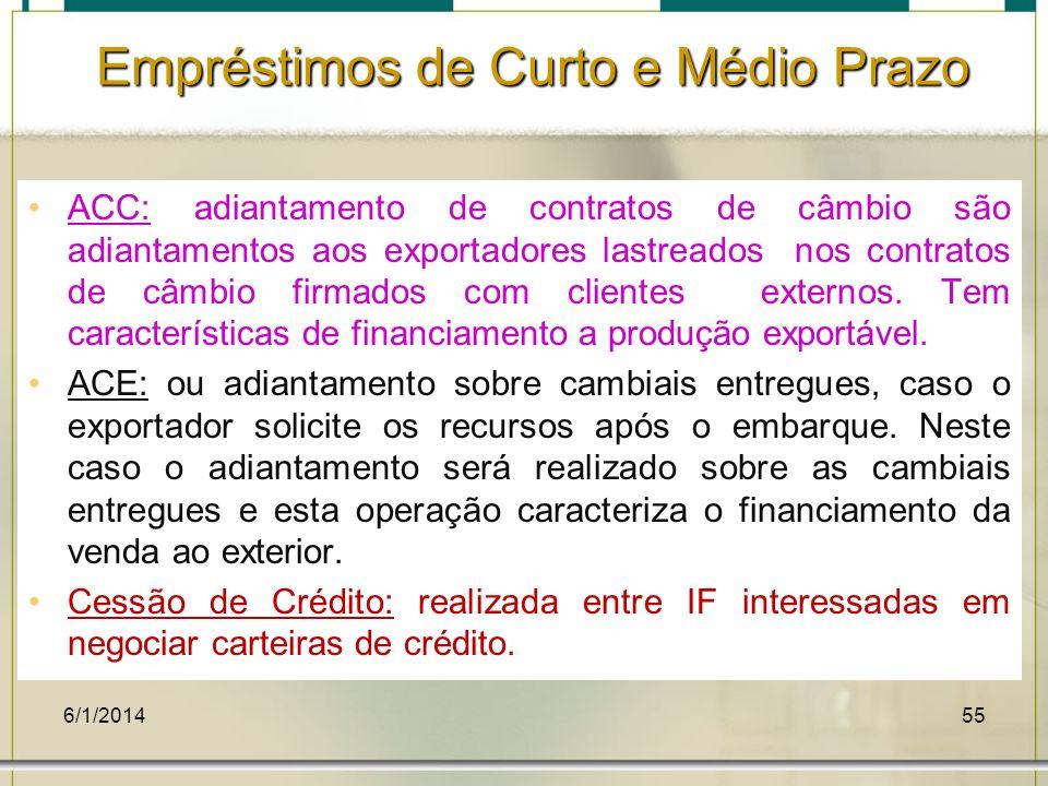 6/1/201455 ACC: adiantamento de contratos de câmbio são adiantamentos aos exportadores lastreados nos contratos de câmbio firmados com clientes extern