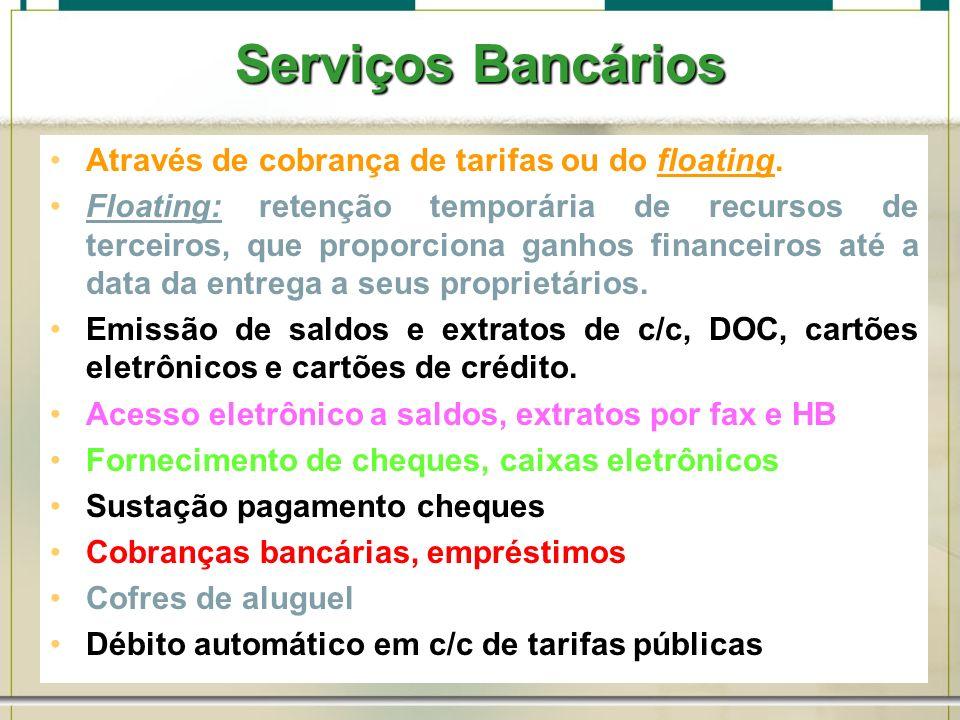 6/1/201457 Serviços Bancários Através de cobrança de tarifas ou do floating. Floating: retenção temporária de recursos de terceiros, que proporciona g