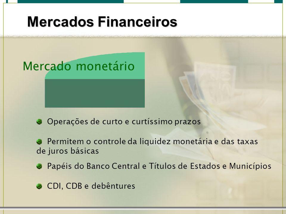 Mercado monetário A política monetária do Governo é executada por meio desse mercado, com a compra e venda de títulos emitidos pelo Banco Central: BBC – Bônus do Banco Central NBC – Notas do Banco Central