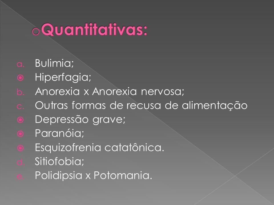 a. Bulimia; Hiperfagia; b. Anorexia x Anorexia nervosa; c. Outras formas de recusa de alimentação Depressão grave; Paranóia; Esquizofrenia catatônica.