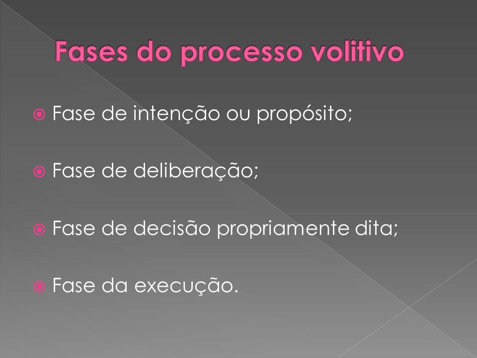 Fase de intenção ou propósito; Fase de deliberação; Fase de decisão propriamente dita; Fase da execução.