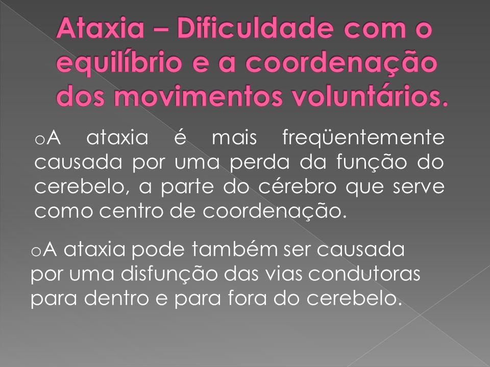 o A ataxia é mais freqüentemente causada por uma perda da função do cerebelo, a parte do cérebro que serve como centro de coordenação. o A ataxia pode