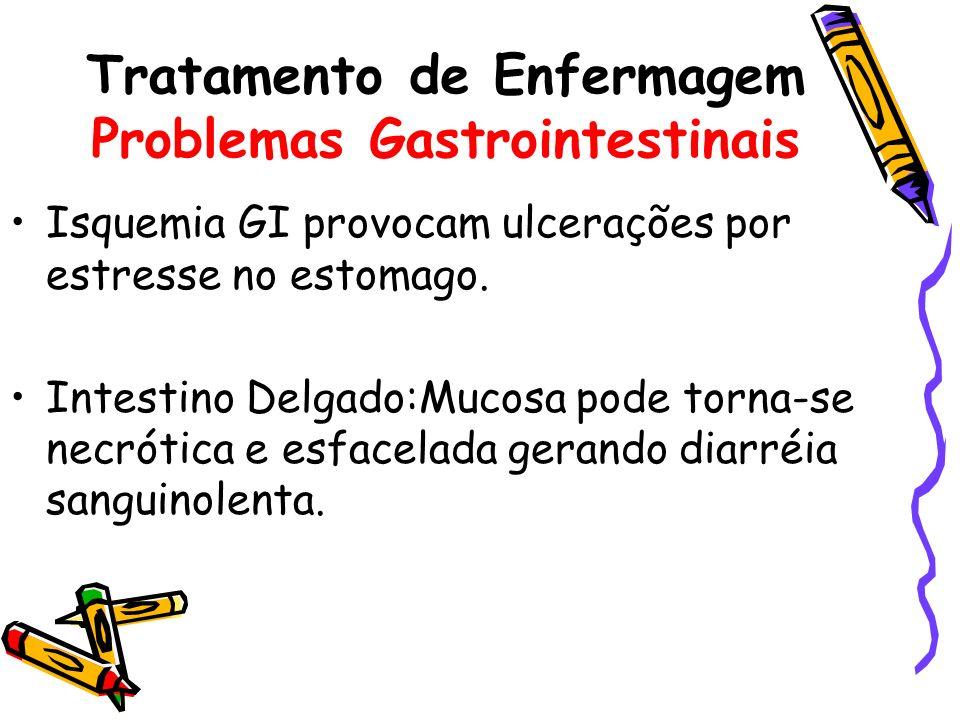 Isquemia GI provocam ulcerações por estresse no estomago. Intestino Delgado:Mucosa pode torna-se necrótica e esfacelada gerando diarréia sanguinolenta