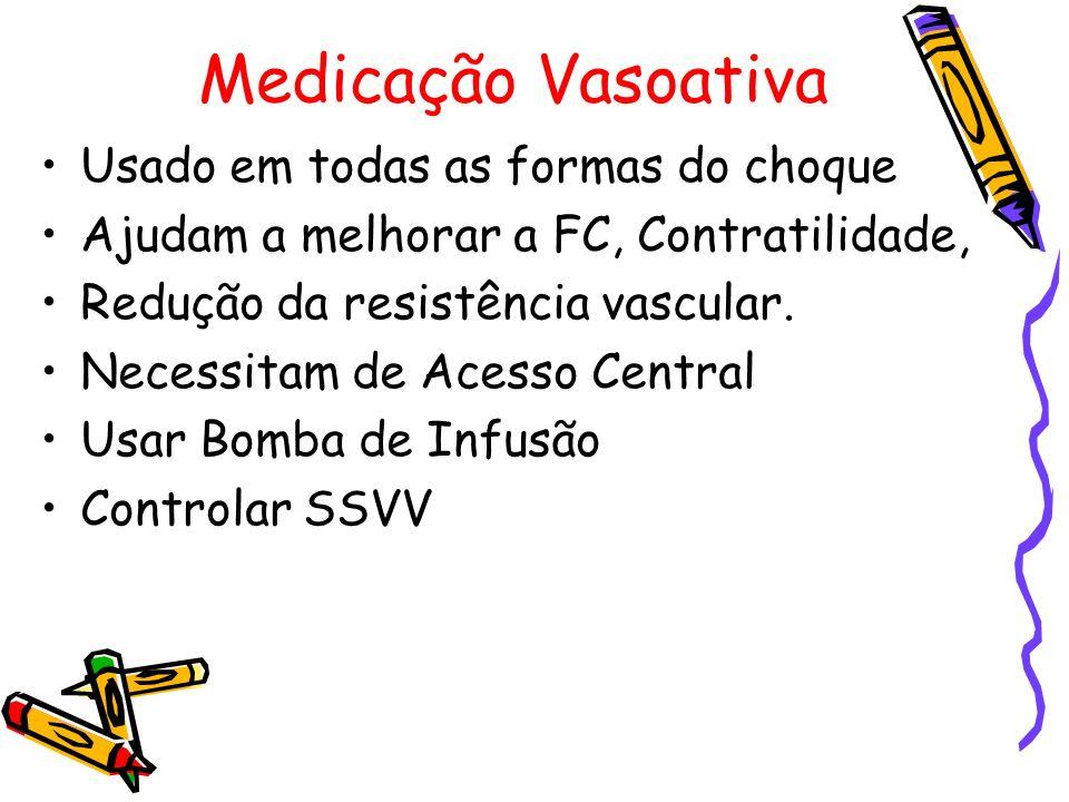 Medicação Vasoativa Usado em todas as formas do choque Ajudam a melhorar a FC, Contratilidade, Redução da resistência vascular. Necessitam de Acesso C