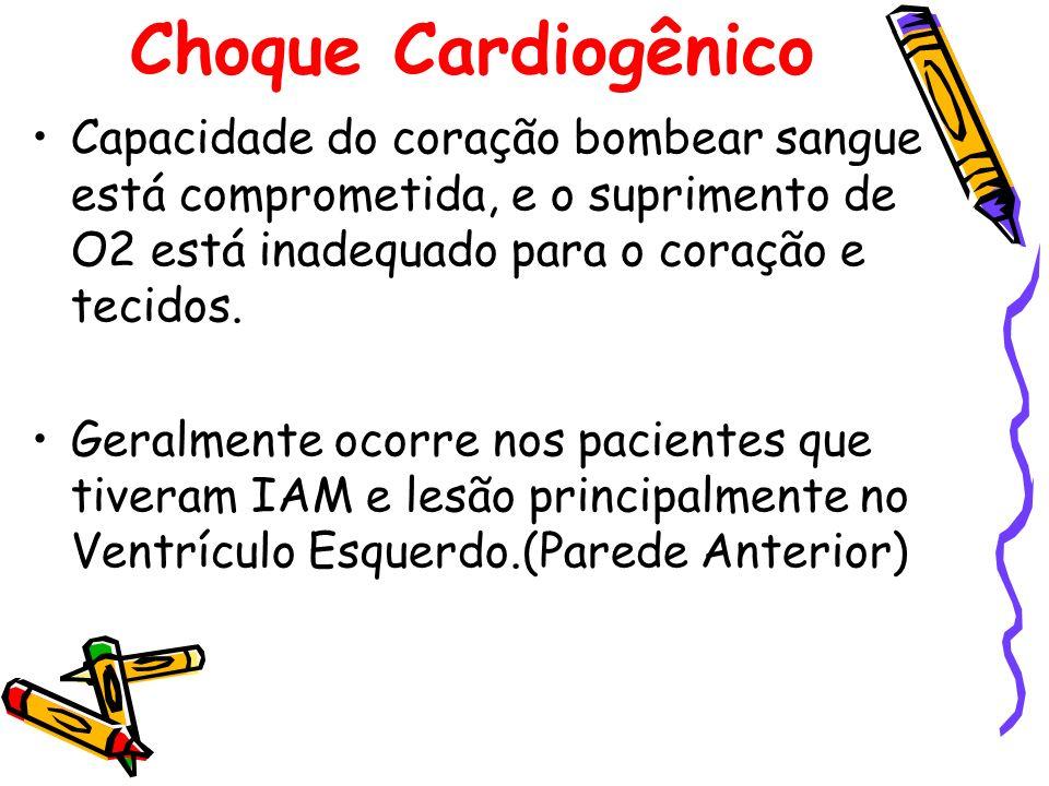Choque Cardiogênico Capacidade do coração bombear sangue está comprometida, e o suprimento de O2 está inadequado para o coração e tecidos. Geralmente