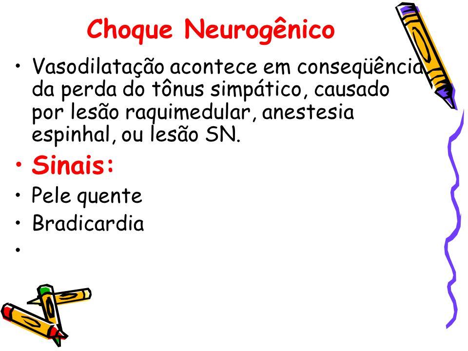 Choque Neurogênico Vasodilatação acontece em conseqüência da perda do tônus simpático, causado por lesão raquimedular, anestesia espinhal, ou lesão SN