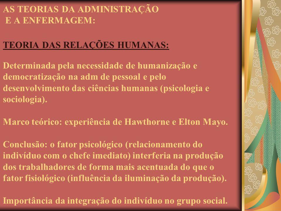 AS TEORIAS DA ADMINISTRAÇÃO E A ENFERMAGEM: TEORIA DAS RELAÇÕES HUMANAS: Determinada pela necessidade de humanização e democratização na adm de pessoa