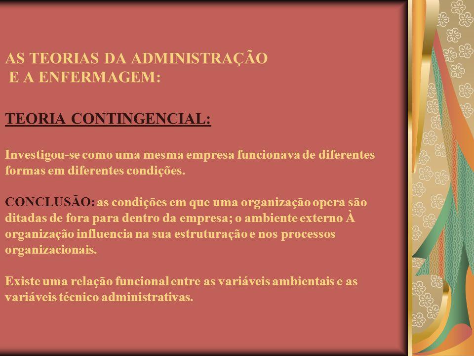 AS TEORIAS DA ADMINISTRAÇÃO E A ENFERMAGEM: TEORIA CONTINGENCIAL: Investigou-se como uma mesma empresa funcionava de diferentes formas em diferentes c