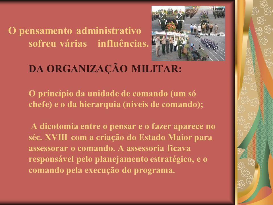 O pensamento administrativo sofreu várias influências. DA ORGANIZAÇÃO MILITAR: O princípio da unidade de comando (um só chefe) e o da hierarquia (níve