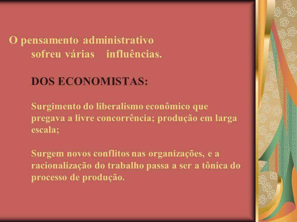 O pensamento administrativo sofreu várias influências. DOS ECONOMISTAS: Surgimento do liberalismo econômico que pregava a livre concorrência; produção