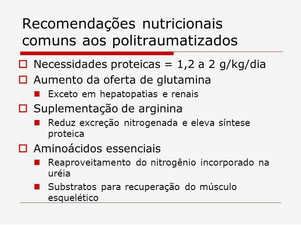 Recomendações nutricionais comuns aos politraumatizados Determinação da necessidades nutricionais do paciente Aumento da necessidade energética Lesões