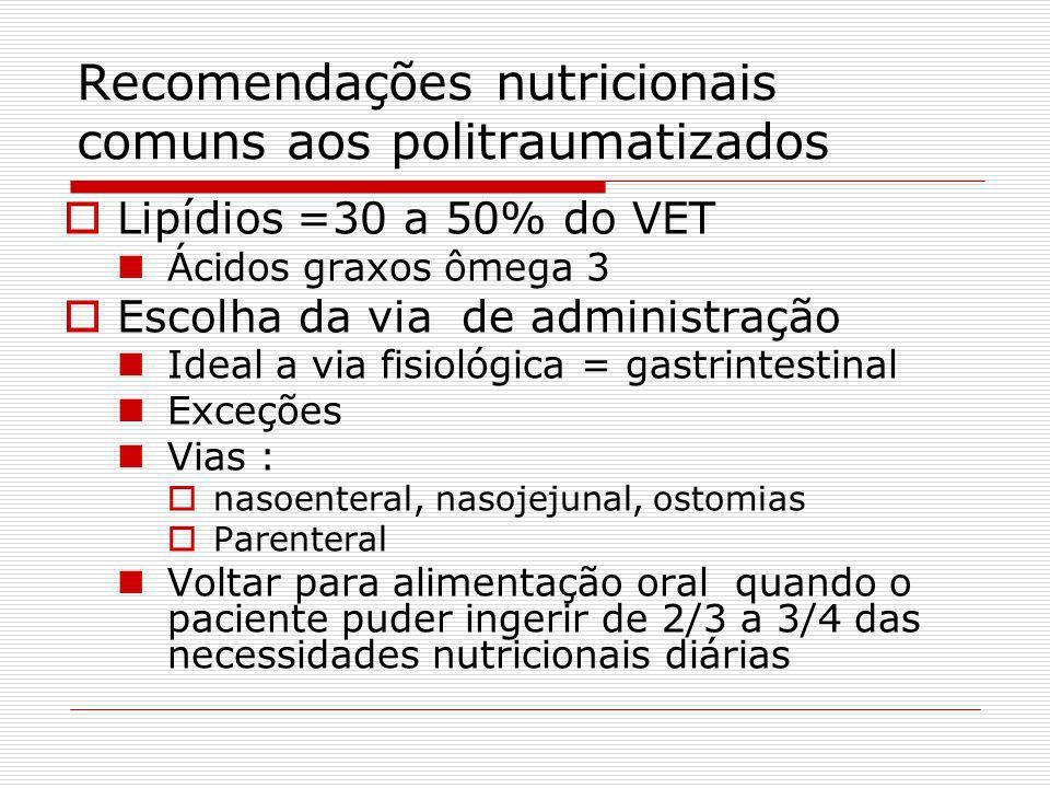 Recomendações nutricionais comuns aos politraumatizados Necessidades proteicas = 1,2 a 2 g/kg/dia Aumento da oferta de glutamina Exceto em hepatopatia