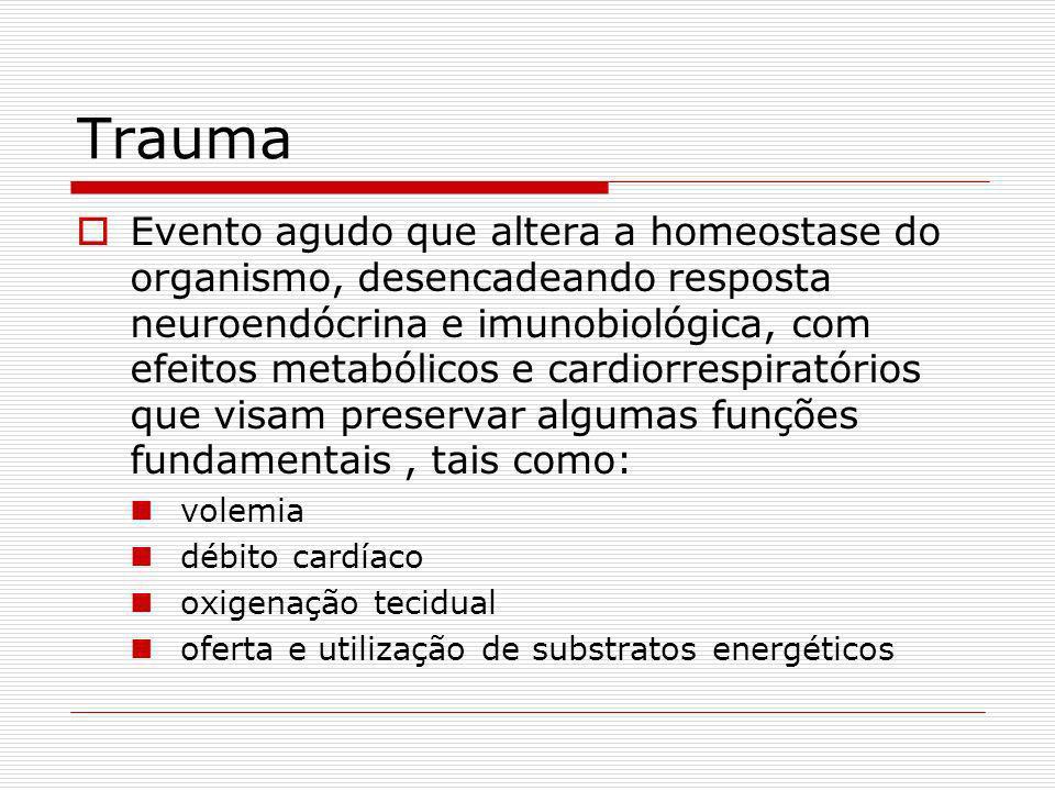Trauma Evento agudo que altera a homeostase do organismo, desencadeando resposta neuroendócrina e imunobiológica, com efeitos metabólicos e cardiorrespiratórios que visam preservar algumas funções fundamentais, tais como: volemia débito cardíaco oxigenação tecidual oferta e utilização de substratos energéticos