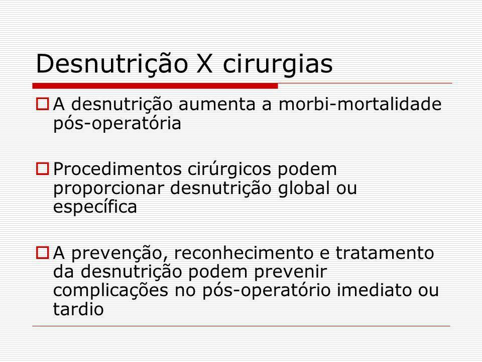 Depleção protéica Saúde: 100% de nitrogênio protéico < massa muscular: estriada < proteína visceral: albumina, transf. transporte prot. < resposta imu