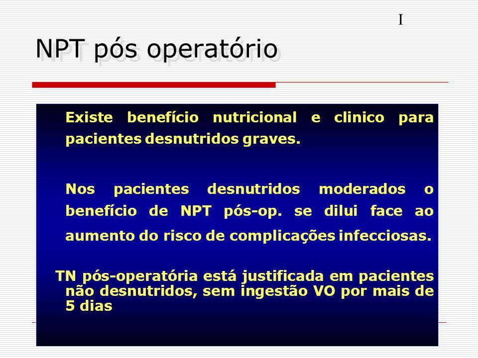 Desnutrição X cirurgias A desnutrição aumenta a morbi-mortalidade pós-operatória Procedimentos cirúrgicos podem proporcionar desnutrição global ou esp