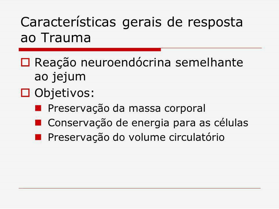 Características gerais de resposta ao Trauma Reação neuroendócrina semelhante ao jejum Objetivos: Preservação da massa corporal Conservação de energia para as células Preservação do volume circulatório