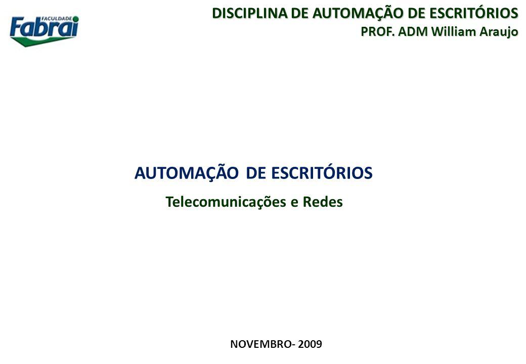 1 FACULDADE FABRAI ANHANGUERA – 2009 AUTOMAÇÃO DE ESCRITÓRIOS Telecomunicações e Redes NOVEMBRO- 2009 DISCIPLINA DE AUTOMAÇÃO DE ESCRITÓRIOS PROF. ADM