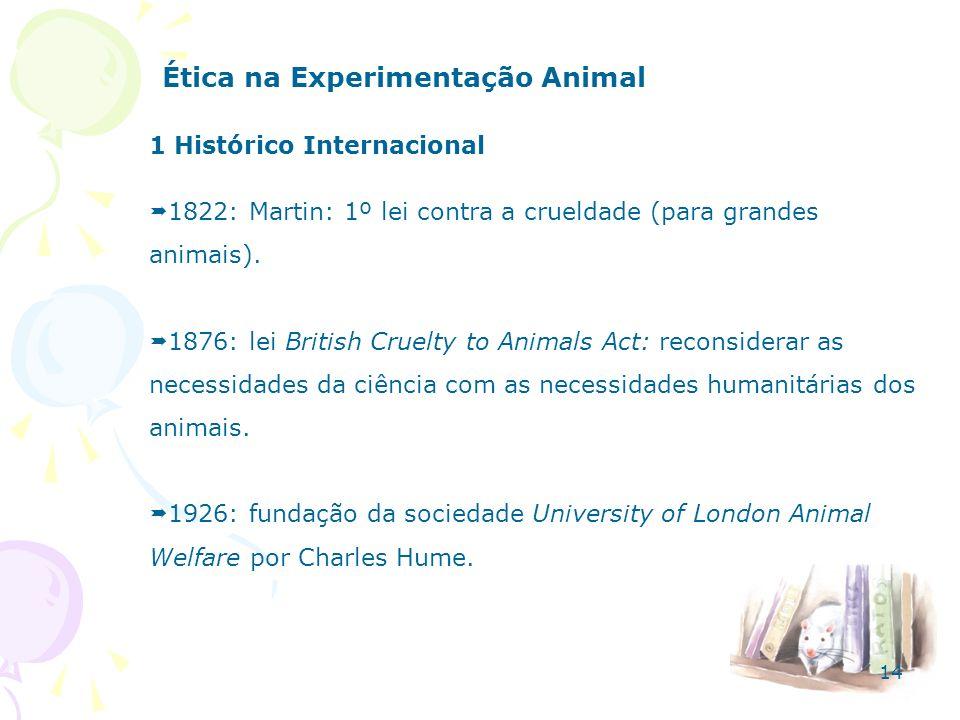 Ética na Experimentação Animal 1 Histórico Internacional 1822: Martin: 1º lei contra a crueldade (para grandes animais). 1876: lei British Cruelty to
