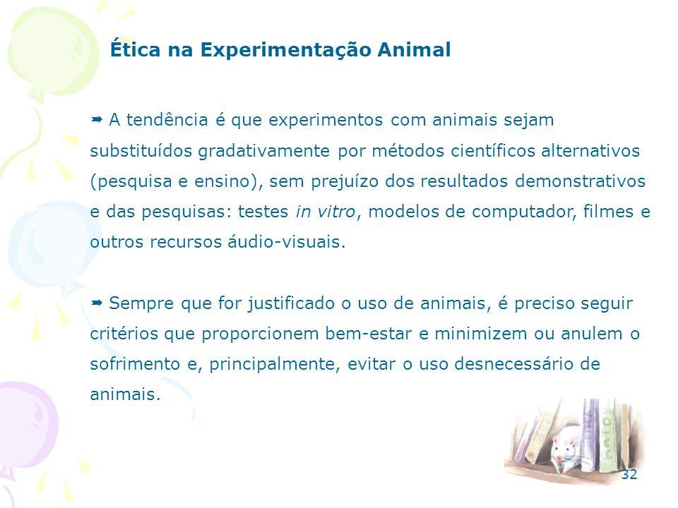 Ética na Experimentação Animal A tendência é que experimentos com animais sejam substituídos gradativamente por métodos científicos alternativos (pesq