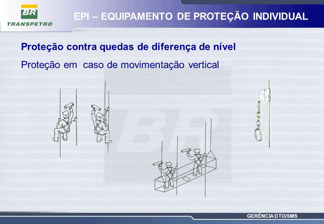 GERÊNCIA DTO/SMS Proteção contra quedas de diferença de nível Proteção em caso de movimentação vertical EPI – EQUIPAMENTO DE PROTEÇÃO INDIVIDUAL
