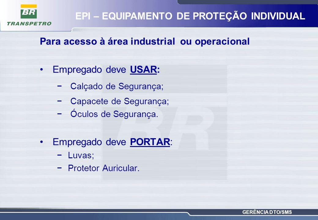 GERÊNCIA DTO/SMS Para acesso à área industrial ou operacional Empregado deve USAR: Calçado de Segurança; Capacete de Segurança; Óculos de Segurança. E