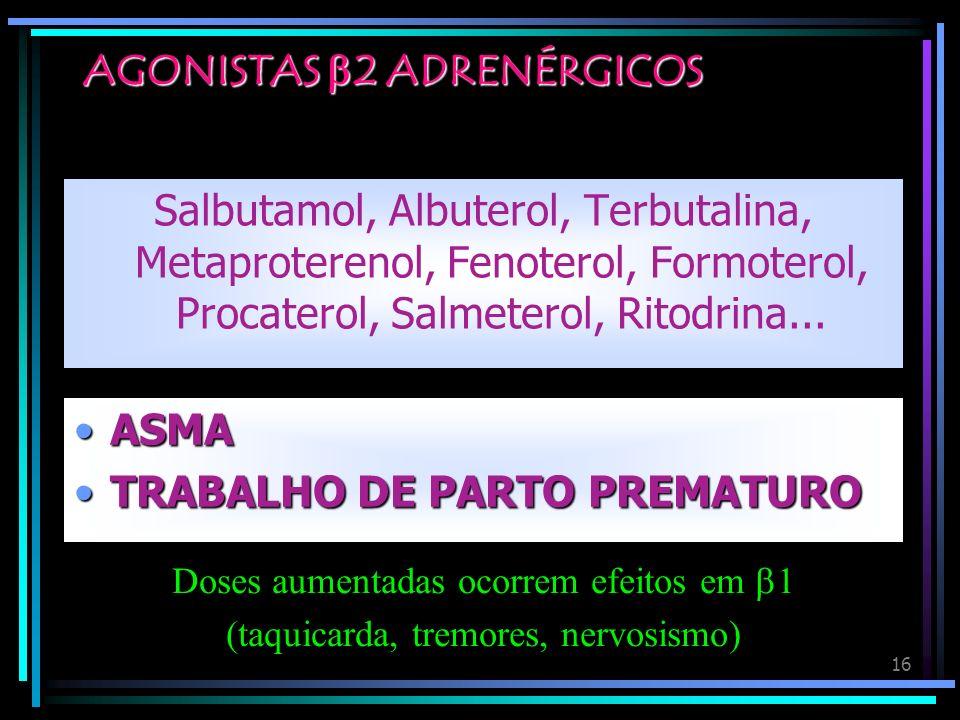 16 AGONISTAS 2 ADRENÉRGICOS Salbutamol, Albuterol, Terbutalina, Metaproterenol, Fenoterol, Formoterol, Procaterol, Salmeterol, Ritodrina... ASMAASMA T