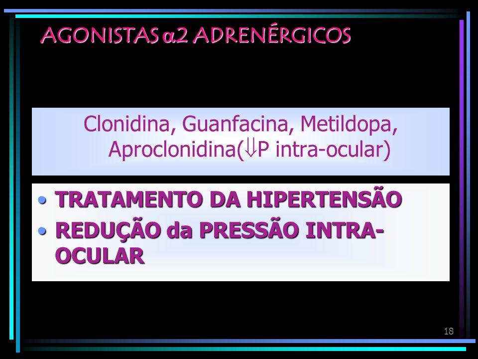 18 AGONISTAS 2 ADRENÉRGICOS Clonidina, Guanfacina, Metildopa, Aproclonidina( P intra-ocular) TRATAMENTO DA HIPERTENSÃOTRATAMENTO DA HIPERTENSÃO REDUÇÃ