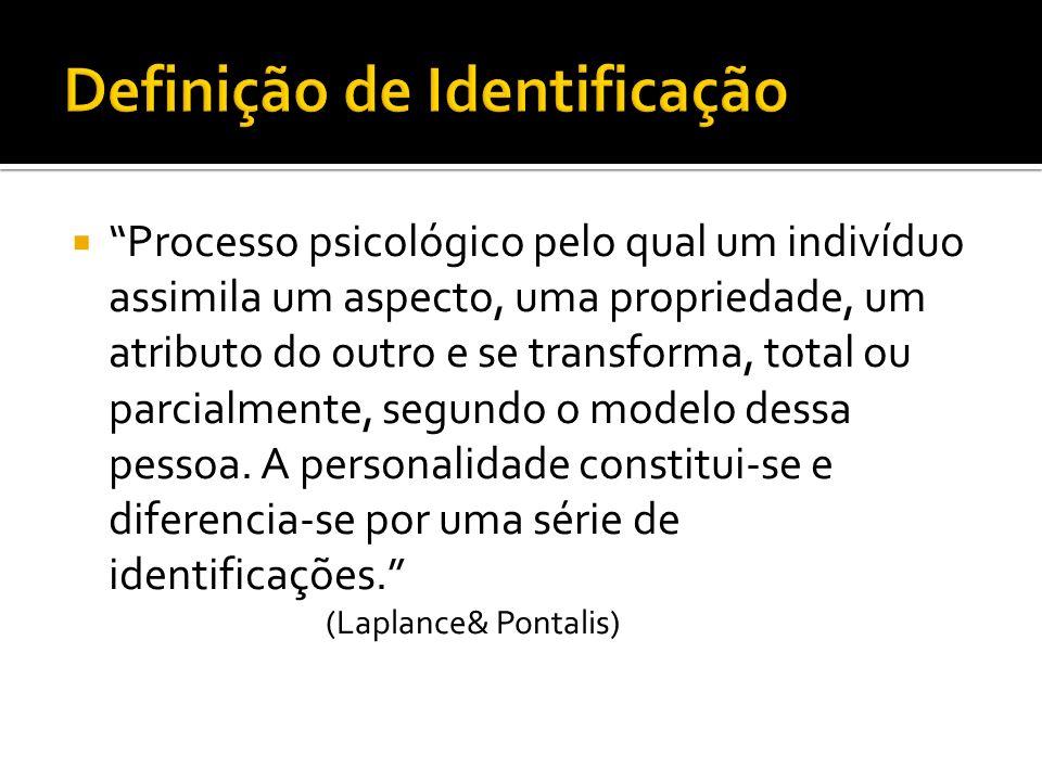 Processo psicológico pelo qual um indivíduo assimila um aspecto, uma propriedade, um atributo do outro e se transforma, total ou parcialmente, segundo
