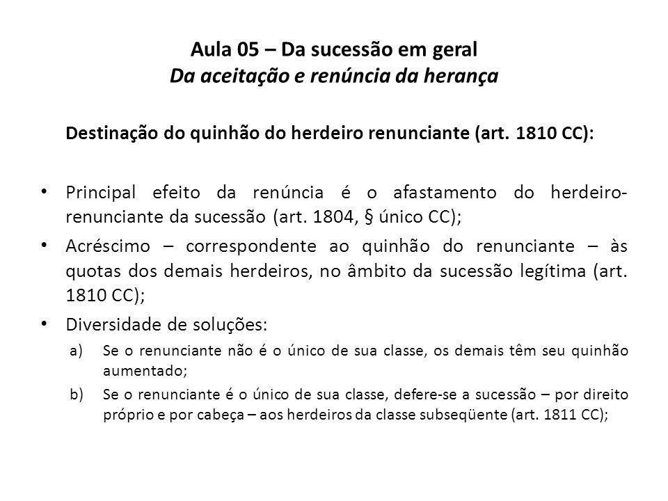 Aula 05 – Da sucessão em geral Da aceitação e renúncia da herança Destinação do quinhão do herdeiro renunciante (art. 1810 CC): Principal efeito da re