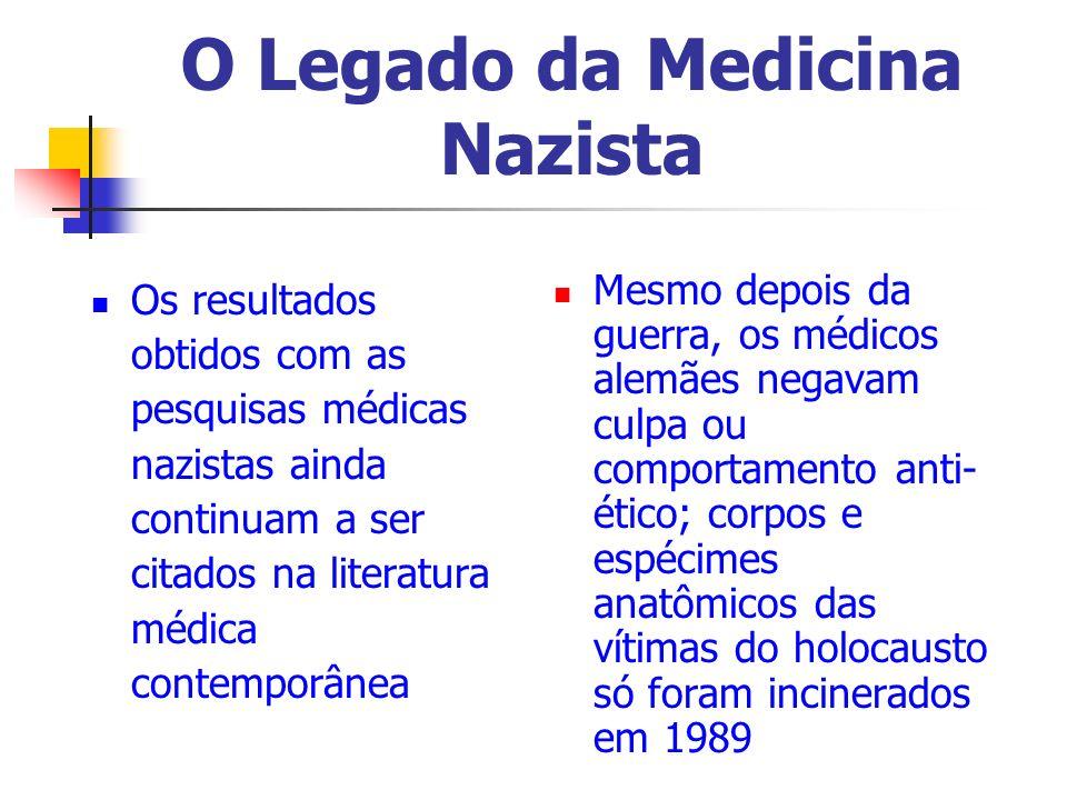 O Legado da Medicina Nazista Os resultados obtidos com as pesquisas médicas nazistas ainda continuam a ser citados na literatura médica contemporânea