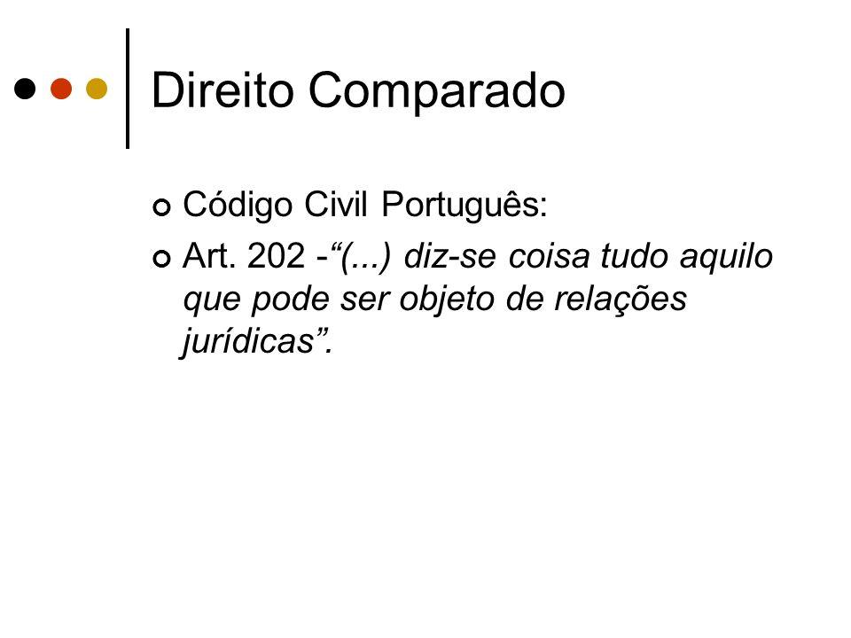Direito Comparado Código Civil Português: Art. 202 -(...) diz-se coisa tudo aquilo que pode ser objeto de relações jurídicas.