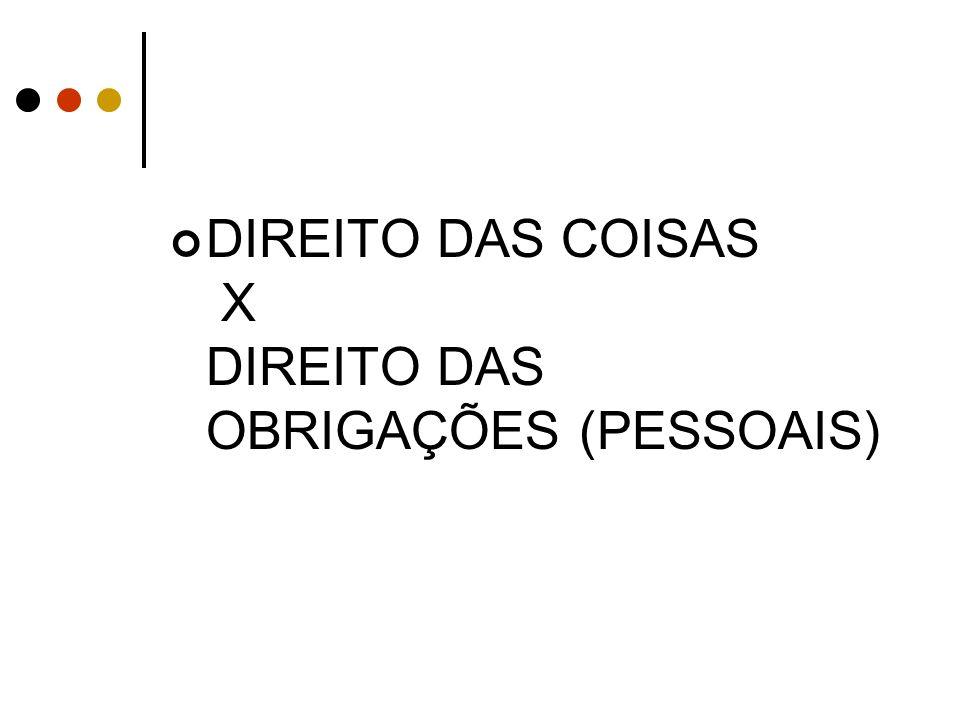 DIREITO DAS COISAS X DIREITO DAS OBRIGAÇÕES (PESSOAIS)