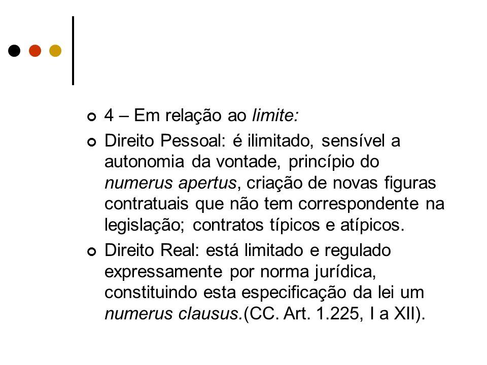 4 – Em relação ao limite: Direito Pessoal: é ilimitado, sensível a autonomia da vontade, princípio do numerus apertus, criação de novas figuras contra