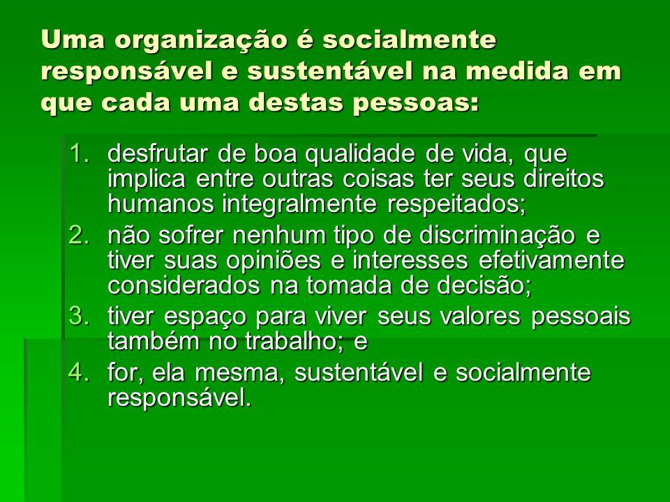 Uma organização é socialmente responsável e sustentável na medida em que cada uma destas pessoas: 1.desfrutar de boa qualidade de vida, que implica en