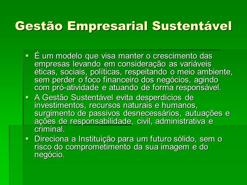 Gestão Empresarial Sustentável É um modelo que visa manter o crescimento das empresas levando em consideração as variáveis éticas, sociais, políticas,