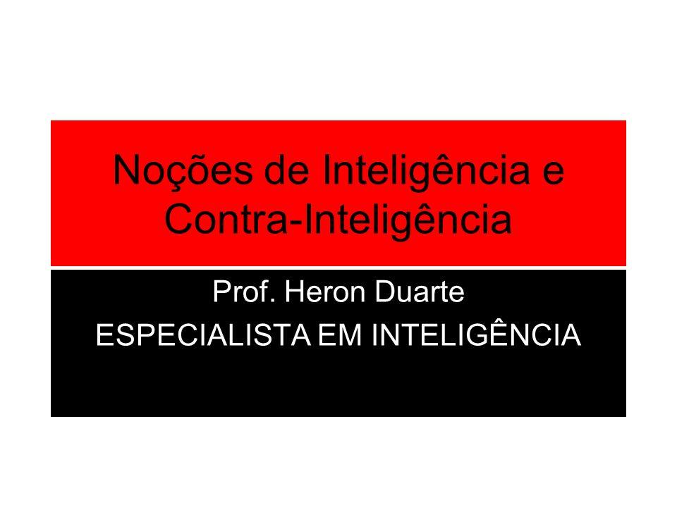 Noções de Inteligência e Contra-Inteligência Prof. Heron Duarte ESPECIALISTA EM INTELIGÊNCIA