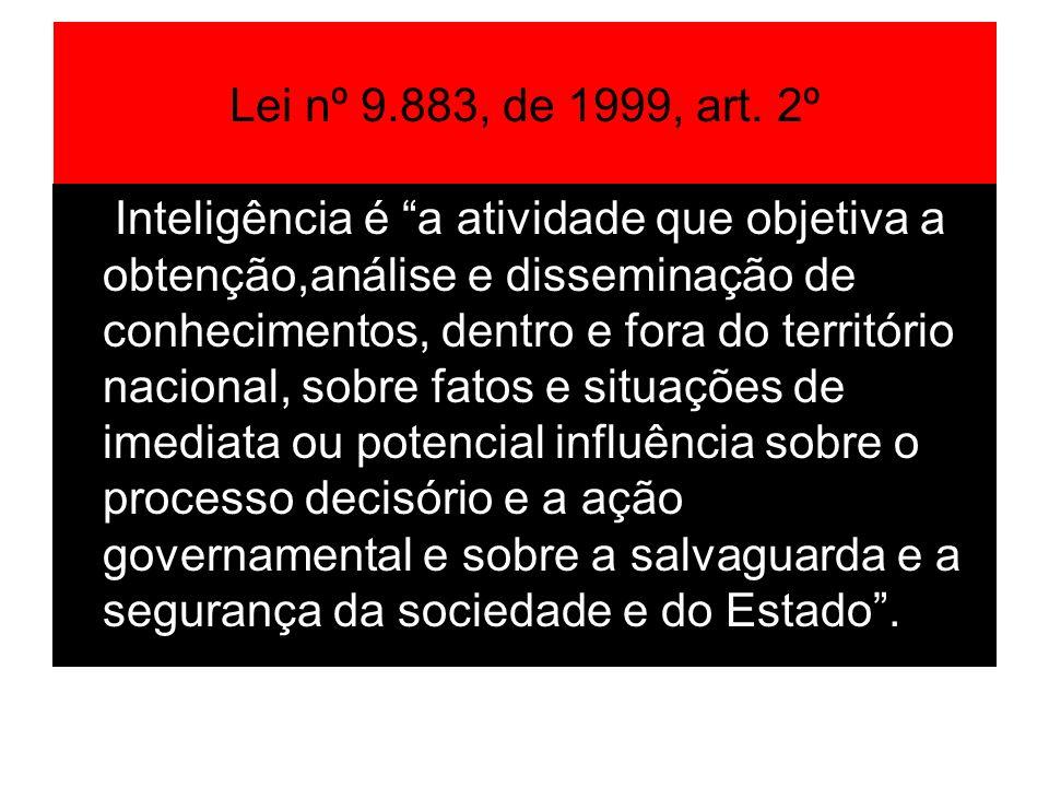 Lei nº 9.883, de 1999, art. 2º Inteligência é a atividade que objetiva a obtenção,análise e disseminação de conhecimentos, dentro e fora do território