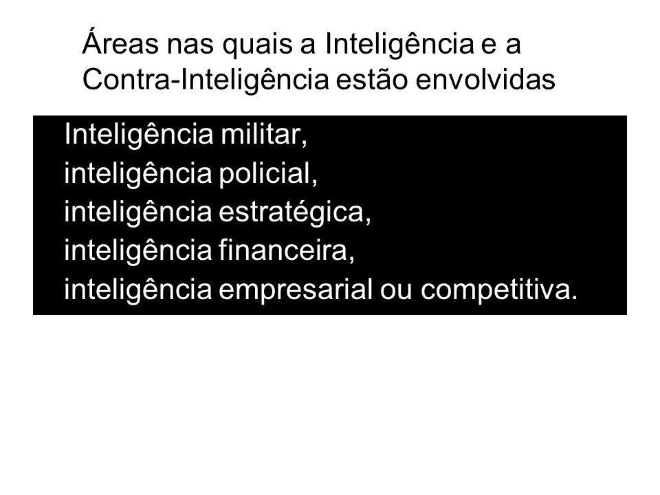 Inteligência militar, inteligência policial, inteligência estratégica, inteligência financeira, inteligência empresarial ou competitiva. Áreas nas qua