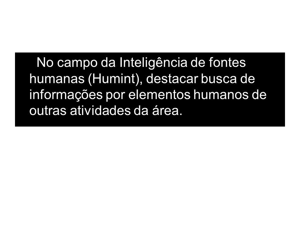 No campo da Inteligência de fontes humanas (Humint), destacar busca de informações por elementos humanos de outras atividades da área.