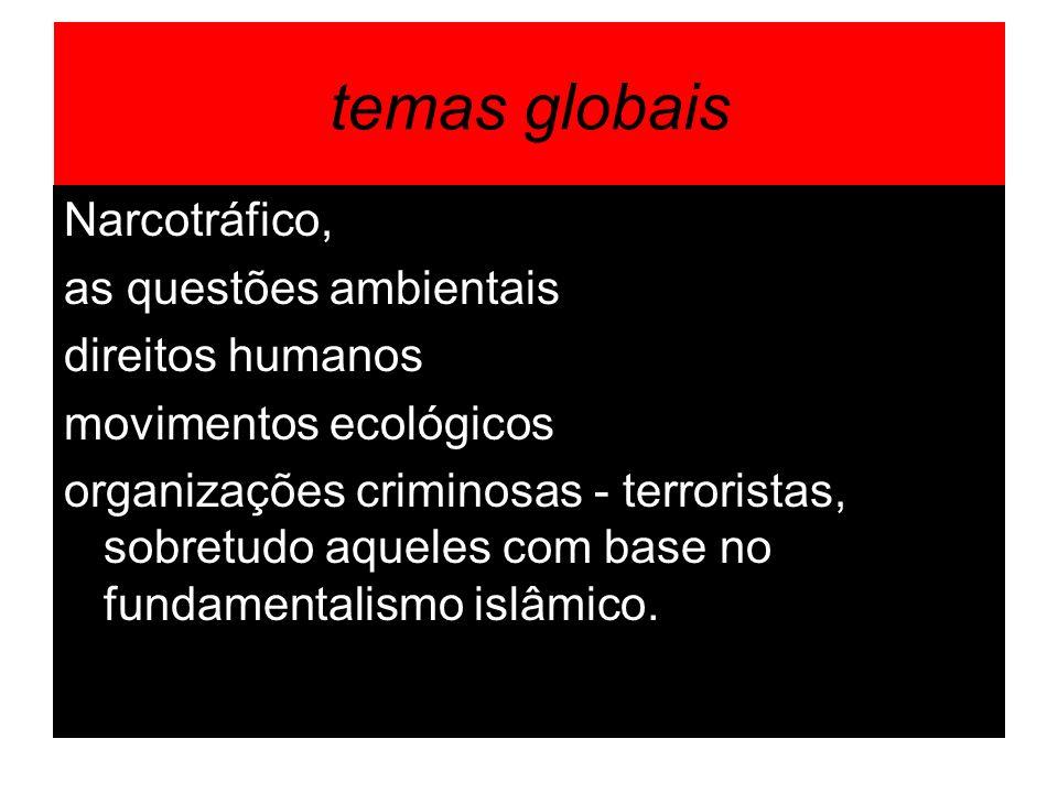 temas globais Narcotráfico, as questões ambientais direitos humanos movimentos ecológicos organizações criminosas - terroristas, sobretudo aqueles com